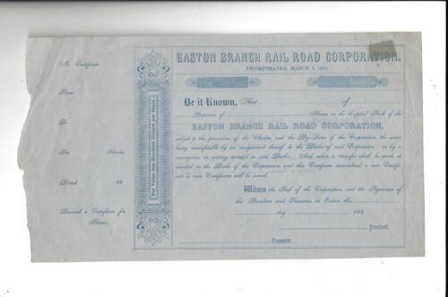 Unused Easton Branch Railroad Company(Massachusetts MA Stock Certificate 1850