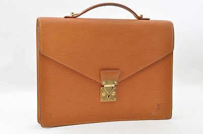 Auth Louis Vuitton Epi Porte Documents Kenya Brown Briefcase #S3749 [No Sticky]
