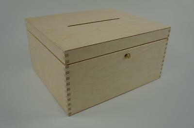 Wooden Lockable Plain Chest Storage Card Box Decoupage Wedding Cards P29/15zs