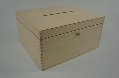 Wooden Lockable Plain Chest Storage Card Box Decoupage Wedding Cards P29/15zs