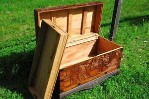 Old Wooden CARVED GLORY BOX Free Perth Metro delivery Serpentine Serpentine Area Preview
