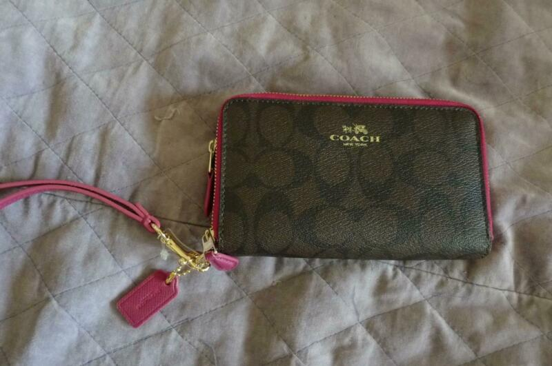 NWOT COACH Double Zip wallet Wristlet in Signature Coated Canvas Brown Pink Gold