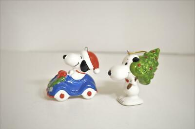 Vintage Snoopy in Blue Car & Snoopy w/Tree Ceramic Christmas Ornament Lot of 2