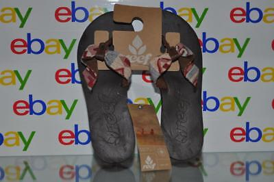 Reef Rubber Sole Sandals - Reef Scrunch TX Womens Flip Flop Sandals Brown Soles Red Multi Color Strap NWT