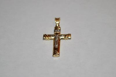 10k Gold Plated Cross (New 10K Yellow Gold Plated .925 Sterling Silver Cross Pendant 29mm )