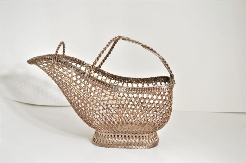 Vintage EISENBERG-LOZANO Silver Plate Woven Wine Holder Basket, France 1953