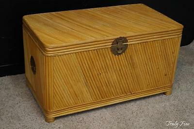 Superior Quality McGuire Style Rattan Storage Blanket Chest Coffee Table