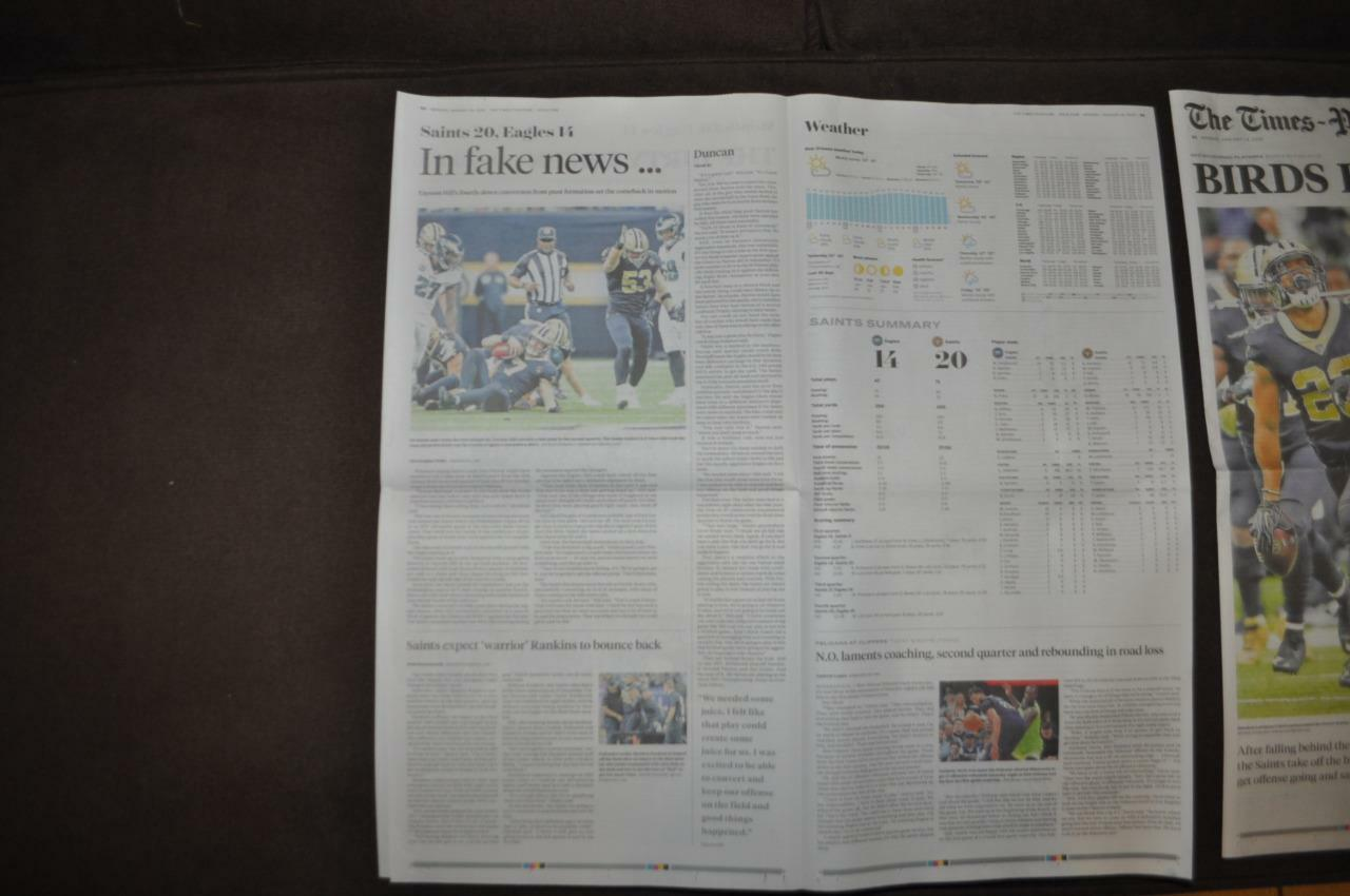 New orleans newspaper times-picayune 1/14/2019 new orleans saints birds boxed