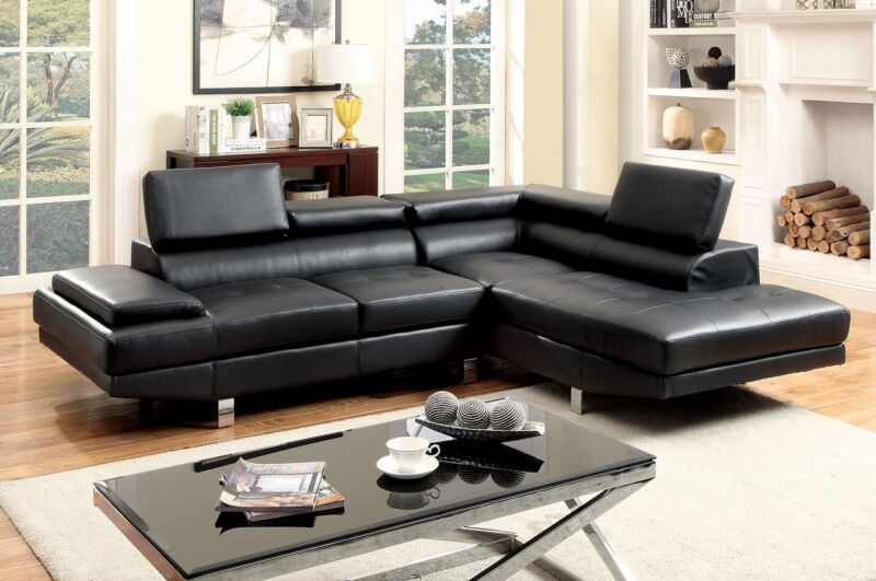 Black Sectional Sofa Contemporary Foldable Headrests Bonded Leather Chrome Legs