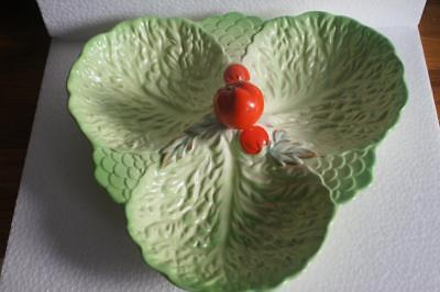 A LOVELY BESWICK WARE THREE-SECTION HORS D'OEURVE DISH WITH TOMATO DECORATION.