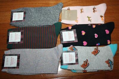 6 Pair NWT J Crew Womens Crew Length Trouser Socks Dogs Hearts Tigers Lurex *5D