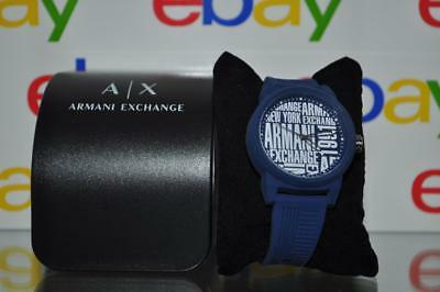 Armani Exchange Mens Atlc Silicone Strap Watch AX1444 Blue NWT