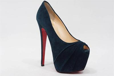 CHRISTIAN LOUBOUTIN DRAPESSE BLUE SUEDE PLATFORM PUMP HEEL  SHOES 35/4.5 $1095