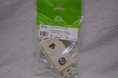 On-Q WP3211-LA Pre-Configured 2 Port Strap Phone RJ45 CAT5e+ TV  Light Almond