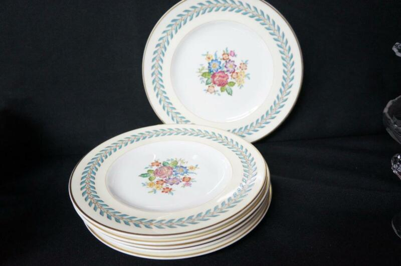 "6 Wedgwood Woodstock Gold Trim Salad Plates 8"""