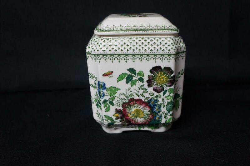 "Masons Paynsley Green Multicolor Lidded Fan Jar, Tea Caddy 5 1/2"" Tall to Top (1"