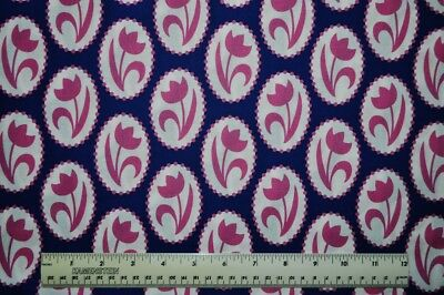 1/2 yard cotton quilt fabric Enchanted framed pink tulips flowers home decor sew