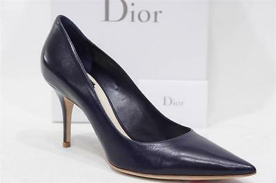 CHRISTIAN DIOR CHERIE POINTY TOE NAVY BLUE LEATHER PUMP HEEL SHOES 39.5/9.5 $580