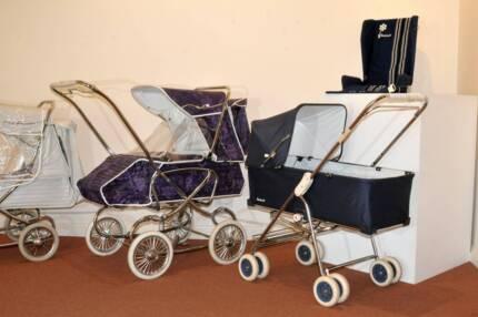 Vintage Antique pram stroller display + dolls -  Melb!