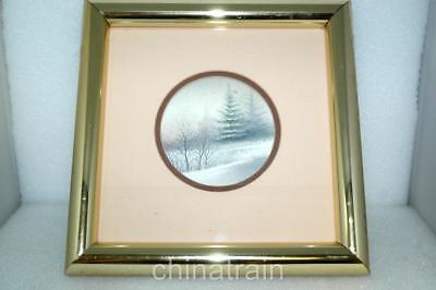 Arnold Alaniz Original Winter Landscape Painting Lithograph 4.5