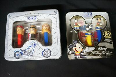 2 PEZ TIN GIFT COLLECTOR SETS ORANGE COUNTY CHOPPERS, 80 YRS DISNEY