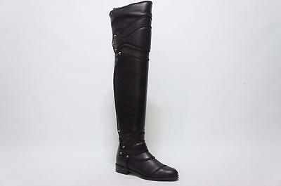 DOLCE & GABBANA OVER THE KNEE BLACK LEATHER BOOTS 36 / 6  $2995
