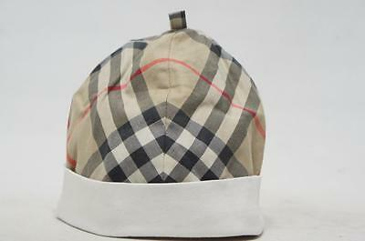 BURBERRY BABY CAP WHITE/HOUSE CHECK  BUCKET HAT  ( 46 CM )
