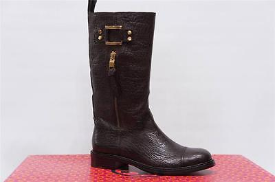 TORY BURCH COREY MID-CALF BROWN LEATHER  BOOTS 6.5 $495