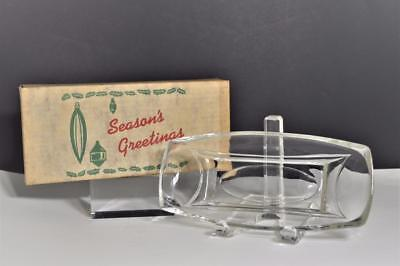(Vintage clear glass dish for relishes, candy, banana split boat in Box Ca. 1950s)