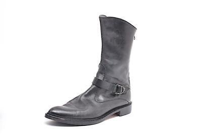 "HENRY BEGUELIN Black Leather 1.25"" Heel Buckle Detail Mid Calf Boots Sz EU 38.5"