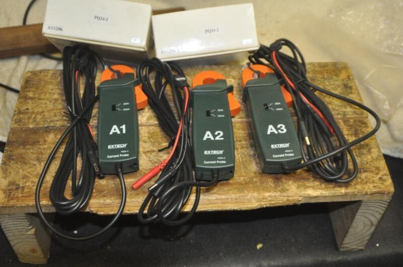 Extech PQ34-2 Current Flexible Clamp Probes Set A1,A2,A3  NEW (3 200A Probes)