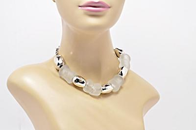 "DESIGNER Polished Sterling Silver Frosted Glass Bead Necklace 15.5""L 117G ISRAEL"