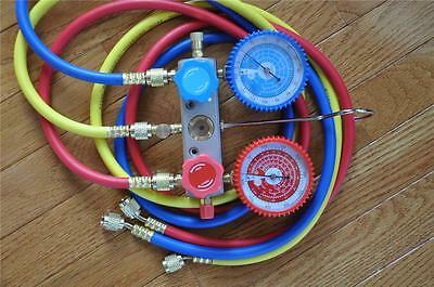 R22 R134a R12 Manifold Gauge5ft Hose Set Hvac Charge Diagnosis Recovery Tool Al