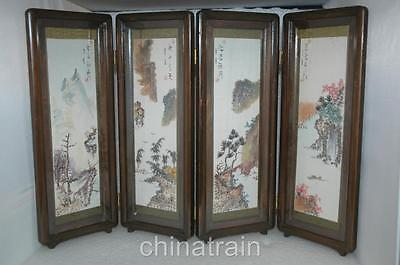 Vintage Japanese 4 Panel Table Desk Screen Shell Sea Urchin Spine Landscapes