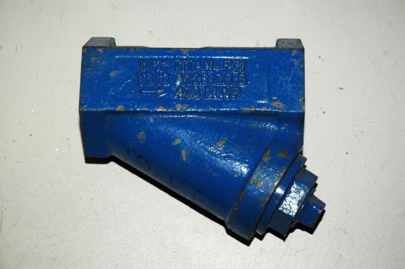 "Titan FCI 1-1/2"" YS12 Cast Gray Iron A126 400 MWP Gr. B Strainer Y Valve - NOS"