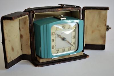 SUPERB STYLISH 1930s FRENCH Bayard ART DECO CHROME ENAMEL TRAVELLING ALARM CLOCK