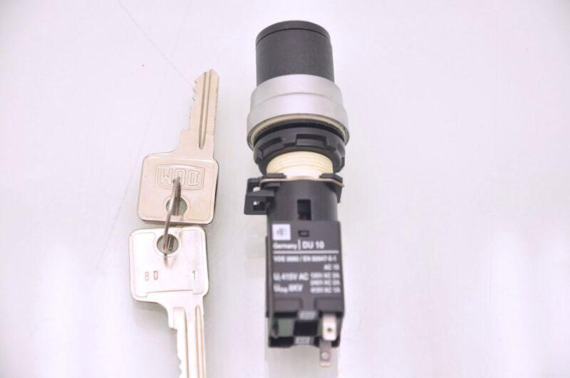 """ETE Germany DU-10, VDE 0660 / EN 60947-5-1 Panel Key Switch, ON/OFF, 5/8"""" Bore"""