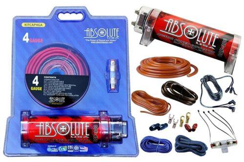 ABSOLUTE KITCAP4GAR 3 Farad Power Capacitor, 4 Gauge Car Audio Amplifier Amp Kit