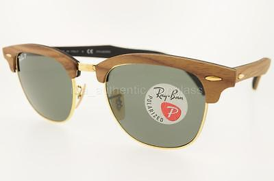 RAY-BAN RB 3016M 118158 51MM WALNUT FRAME GREEN POLARIZED LENS WOOD CLUBMASTER