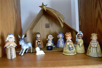 Vintage 10Pc Goebel Hummel Nativity Set W Wooden Stable Light Star