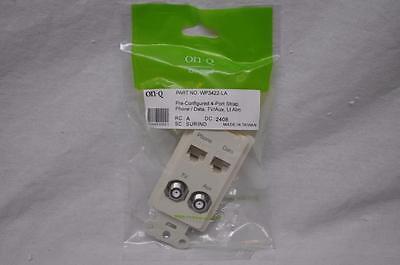 On-Q WP3422-LA PreConfigured 4Port Strap Phone Data TV Aux Light Almond