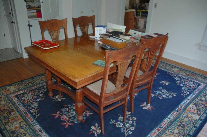 Antique Vintage Tiger Oak Dining Room Set Table & Lyre Back Chairs