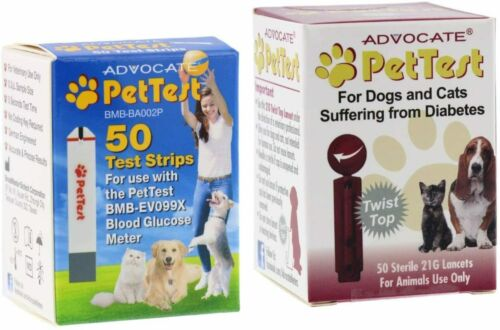 Advocate PetTest Blood Glucose Test Strips & 21G Twist Top Sterile Lancets Co...