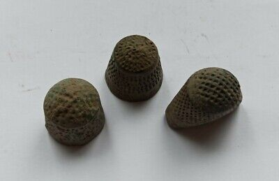 LOT OF 3 ANCIENT MEDIEVAL EUROPEAN THIMBLES 1000-1200 AD