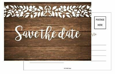 20 Save The Date Post Cards 4x6 Rustic Country Wood Lace for Party or Wedding (Wedding Save The Dates)