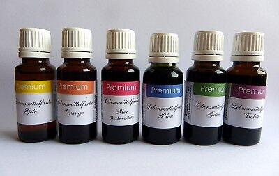 6er SET Lebensmittelfarbe EXTRA HOCHKONZENTRIERT in 20 ml Flaschen bis 1200 Lit