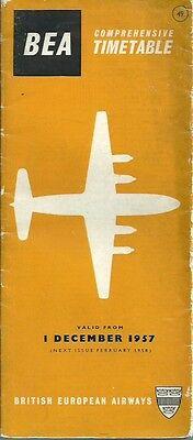 BEA British European Airways - 1957 Full System Timetable  - December 1957