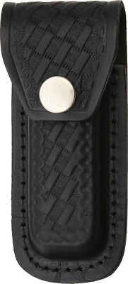 Sheaths Folding Knife Sh1143 Black Leather With Embossed Basketweave Design  Fit