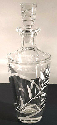 Lenox OPAL INNOCENCE Crystal Decanter & Stopper Etched Leaf Design New In Box