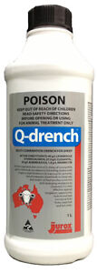 Q-Drench A Unique 4 way anthelmintic Drench for use in sheep 1 litre *8472*